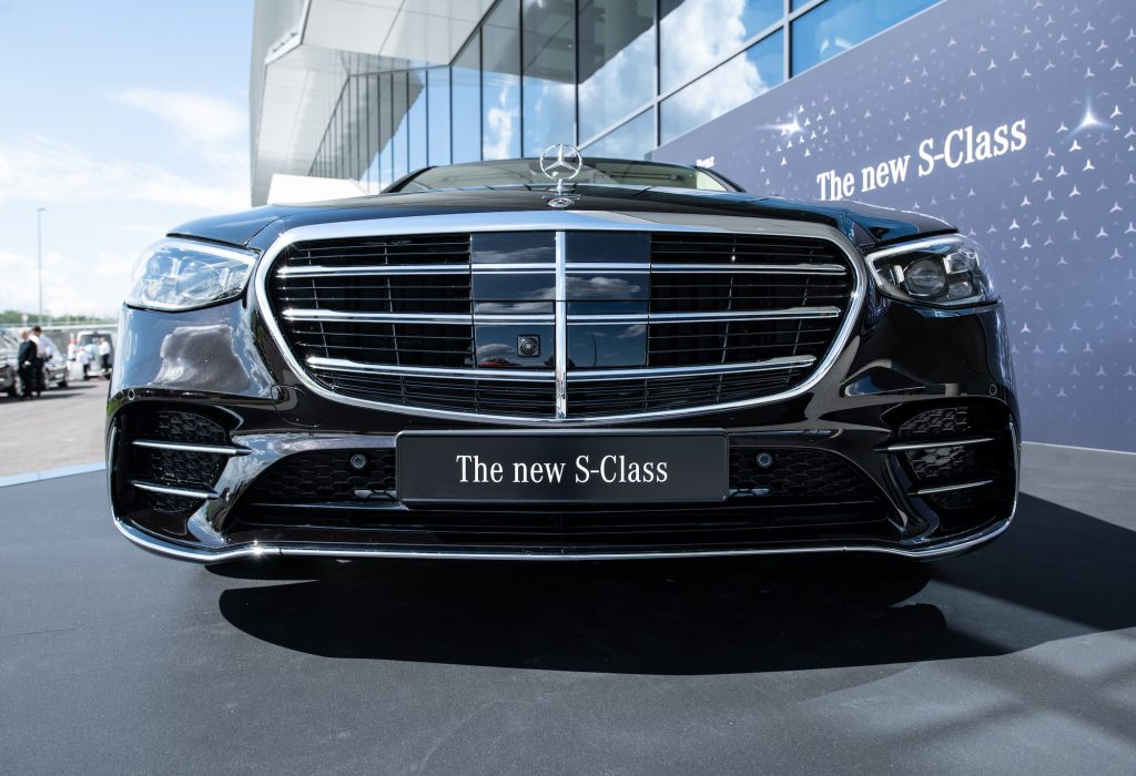 """The new S-Class at its world premiere at the """"Factory 56""""."""