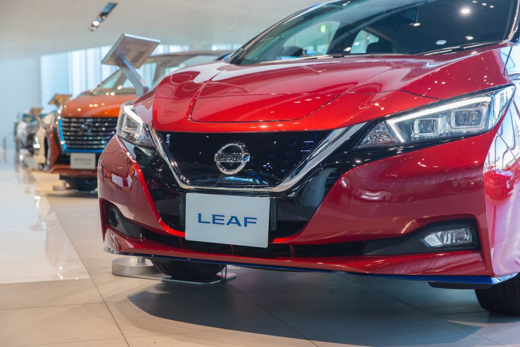 Nissan Leaf EVs on display