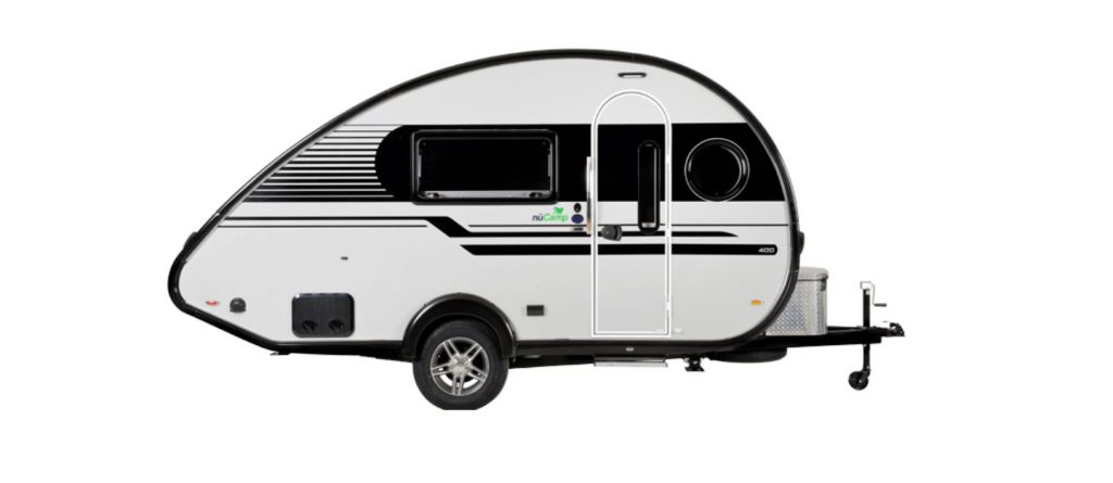 A white teardrop RV from NuCamp RV