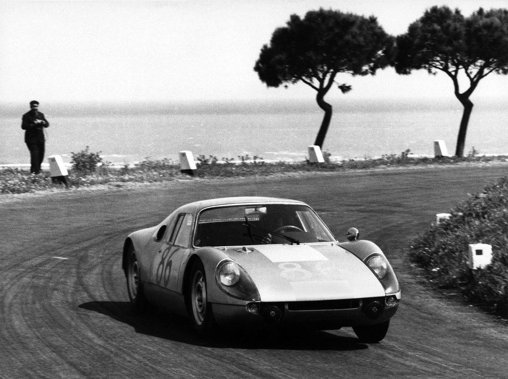 The Porsche 904 Carrera GTS racing at the 1964 Targa de Florio