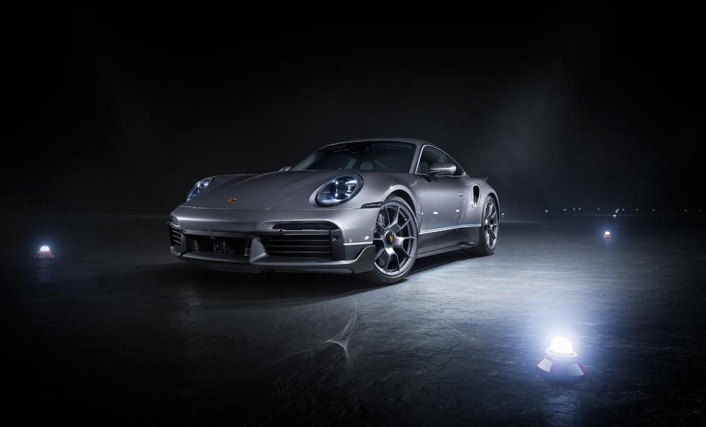 2021 Porsche 911 Turbo S in nighttime shot on runway