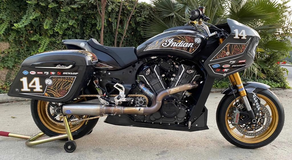The black Roland Sands Design King of the Baggers Indian Challenger side view