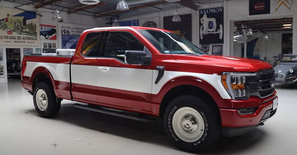 A red and white custom 2021 Ford F-150 pickup truck.
