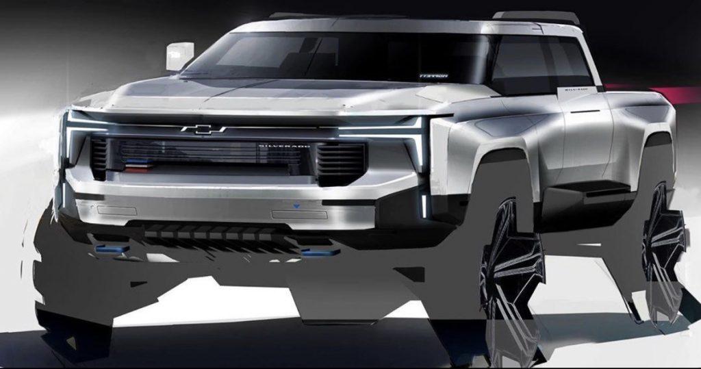designer's sketch of upcoming Chevy Silverado EV pickup