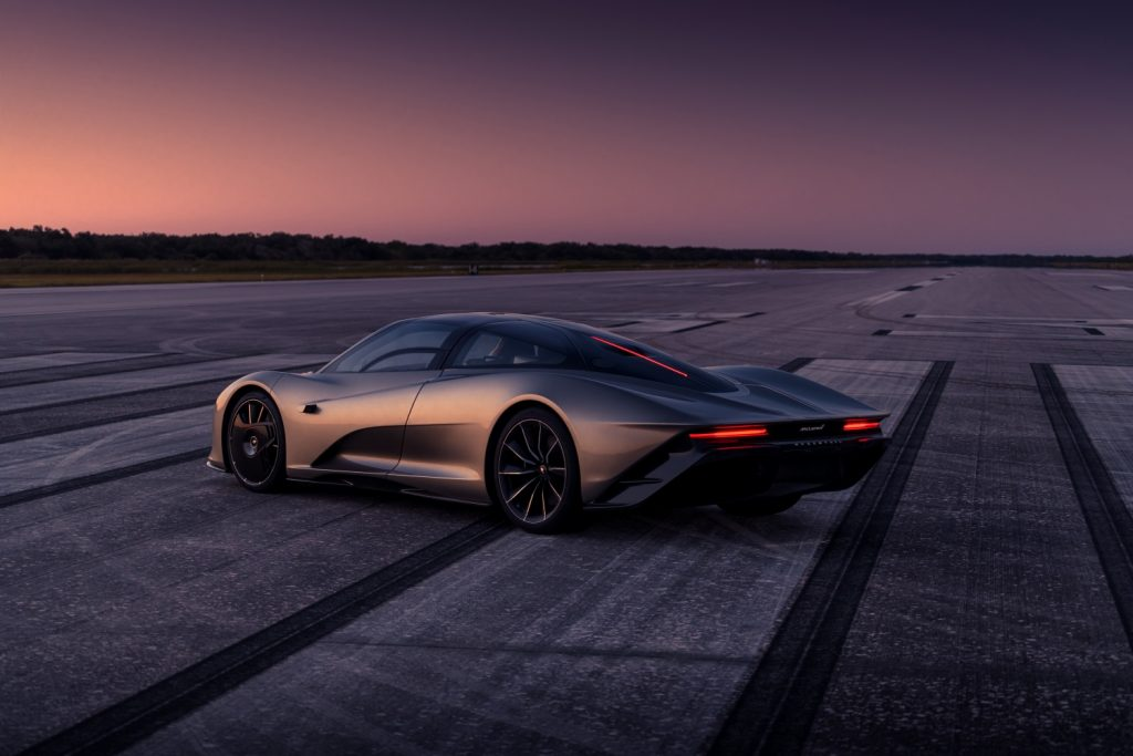 A photo of the McLaren Speedtail on track.