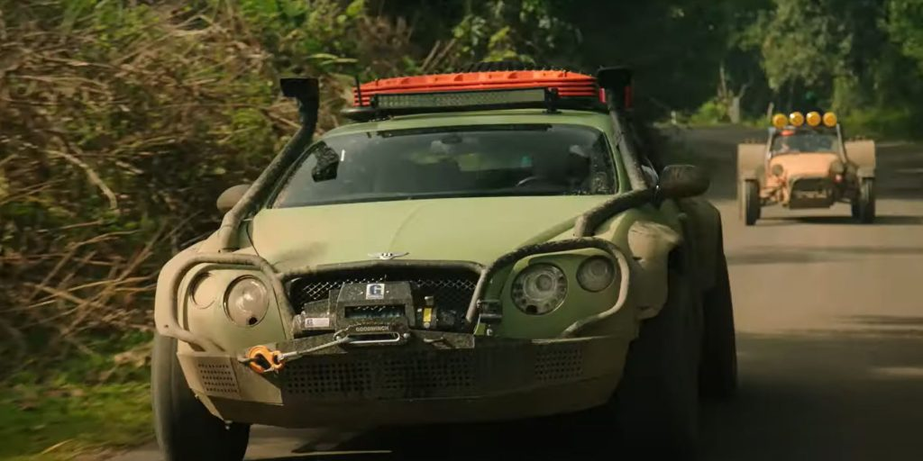 A Bentley and Lotus on the car show The Grand Tour