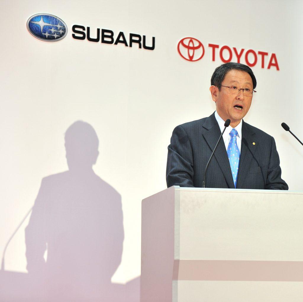 A Toyota executive giving a speech