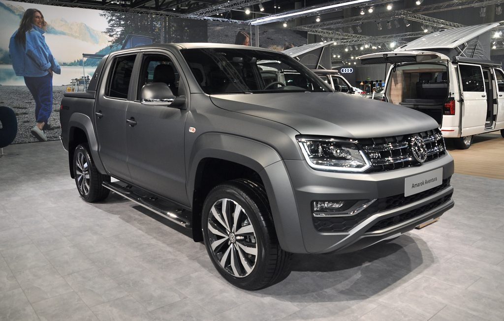 A Volkswagen Amarok Aventura is seen during the Vienna Car Show press preview at Messe Wien, as part of Vienna Holiday Fair, on January 15, 2020 in Vienna, Austria.