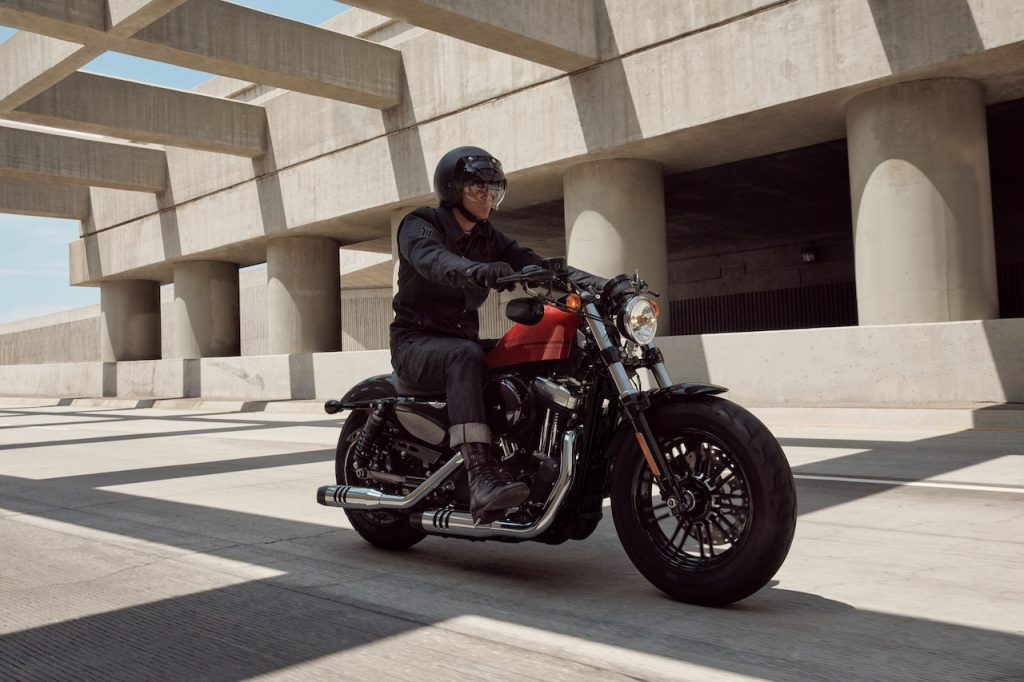A photo of a Harley-Davidson Sportster on the road.