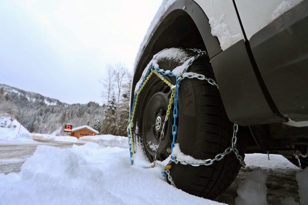 a car with tire chains