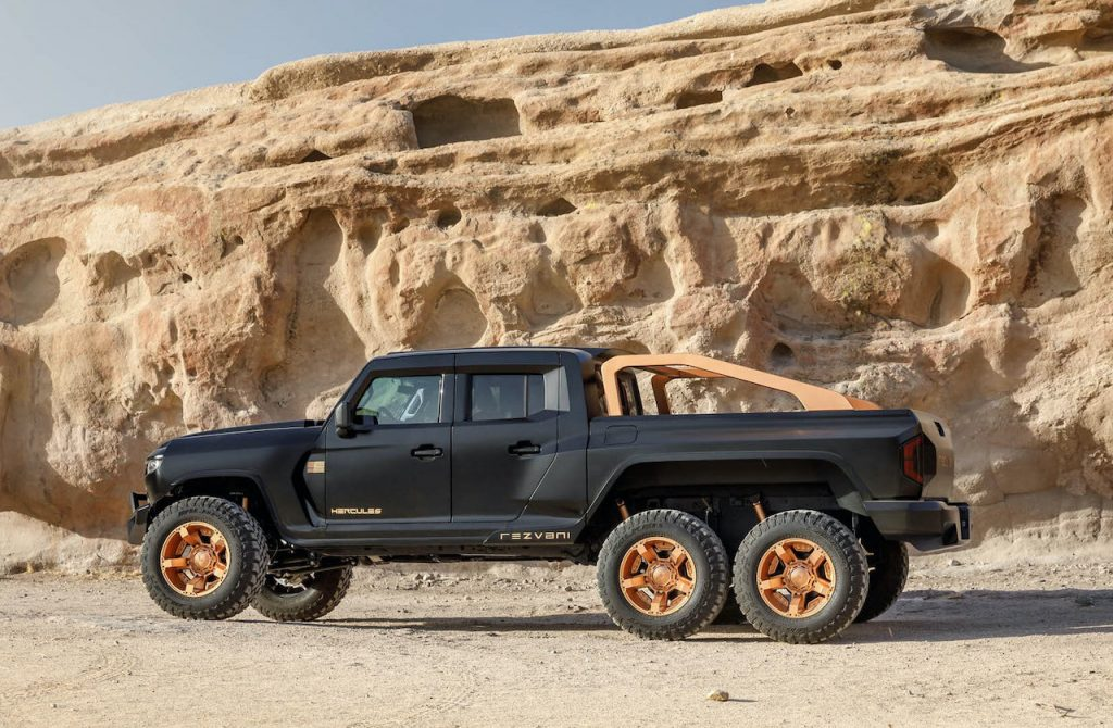 A photo of the Rezvani Hercules 6X6 in the desert.