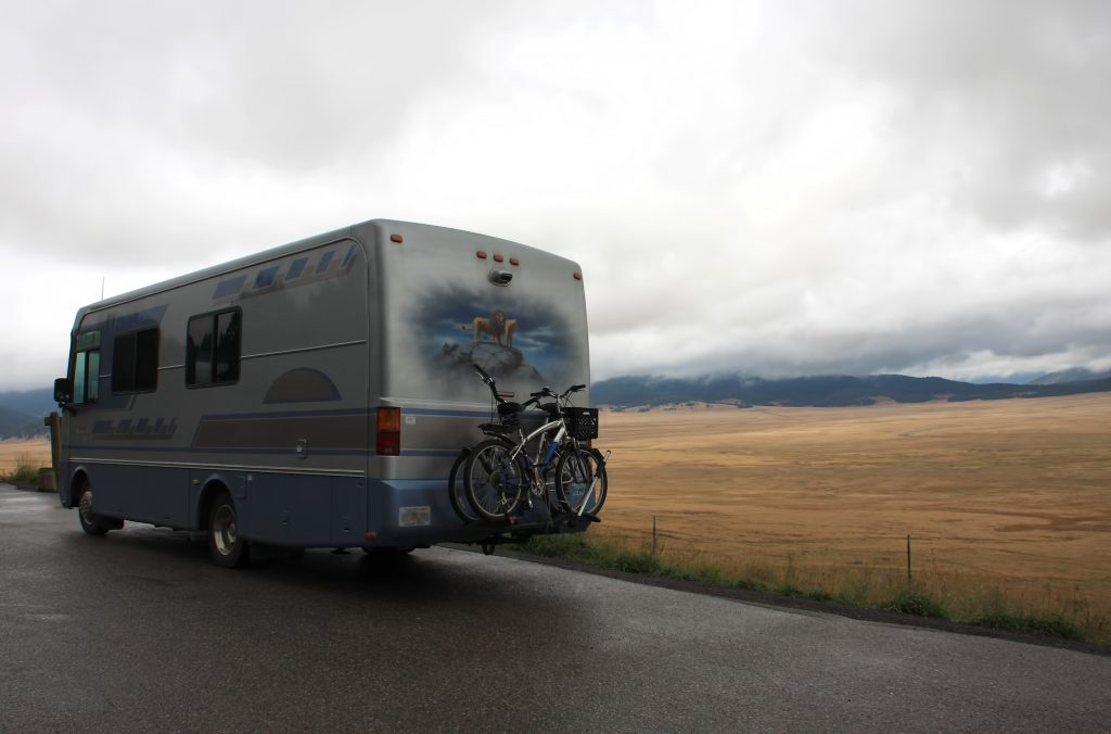 A motorhome with bicycles on back at Valle Grande in Valles Caldera, Northern New Mexico, September 2010