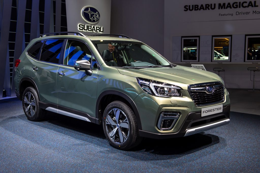 Subaru Forester crossover is displayed during the second press day at the 89th Geneva International Motor Show on March 6, 2019, in Geneva, Switzerland.
