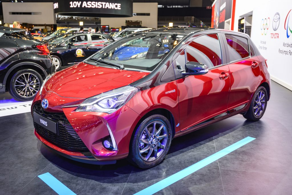 Toyota Yaris Hybrid compact city car on display
