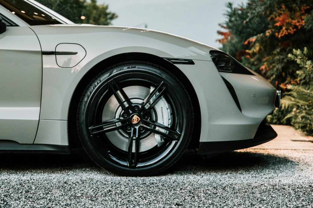 An image of a Porsche Taycan with all-new Pirelli tires.