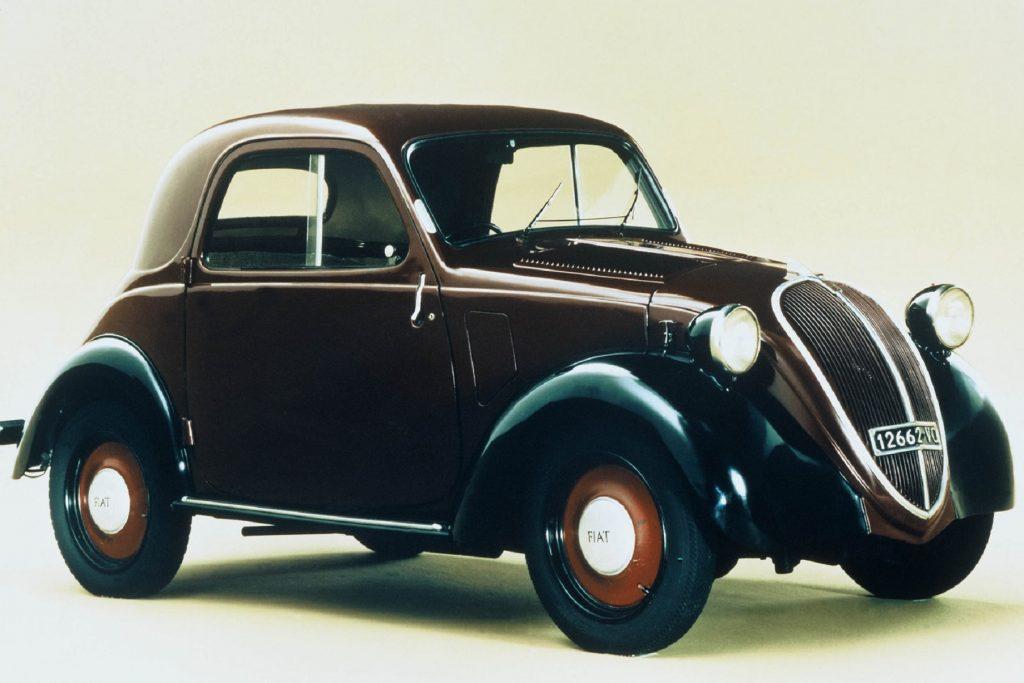 A brown-and-black 1936 Fiat 500 Topolino