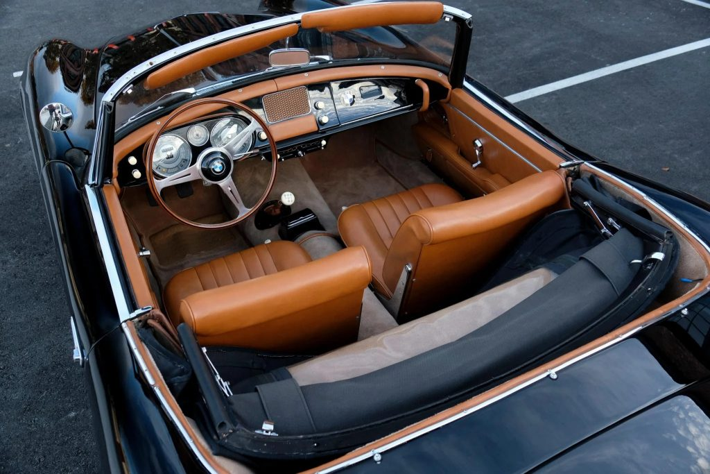 The overhead view of a 1957 BMW 507 Series II's butterscotch leather interior
