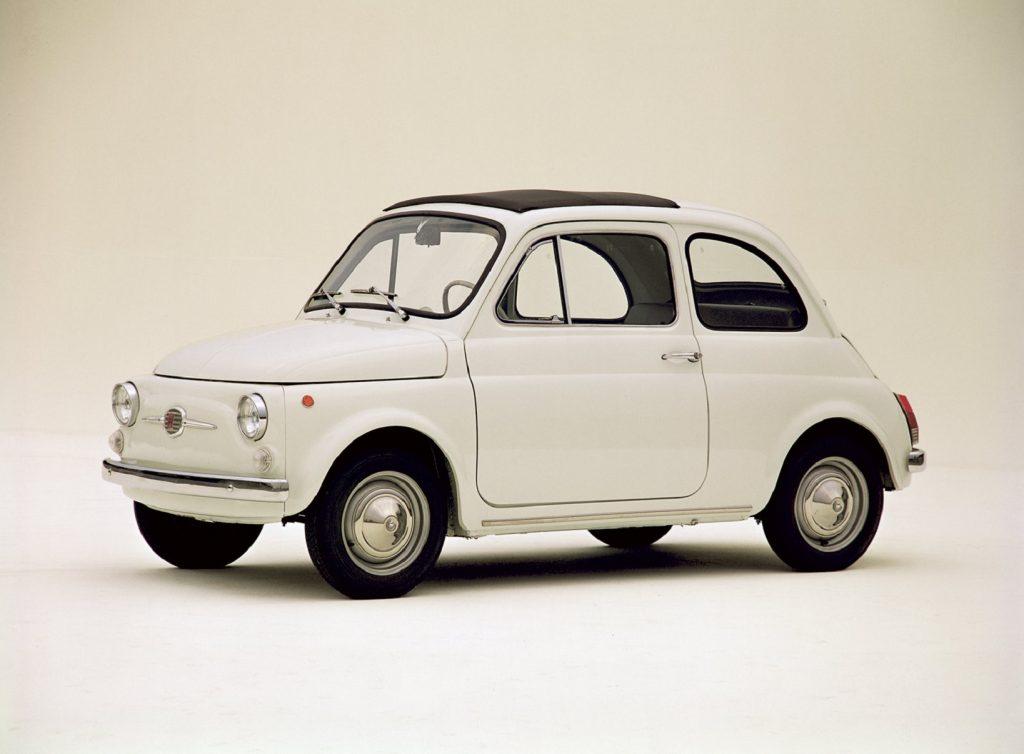 A white 1957 Fiat Nuova 500