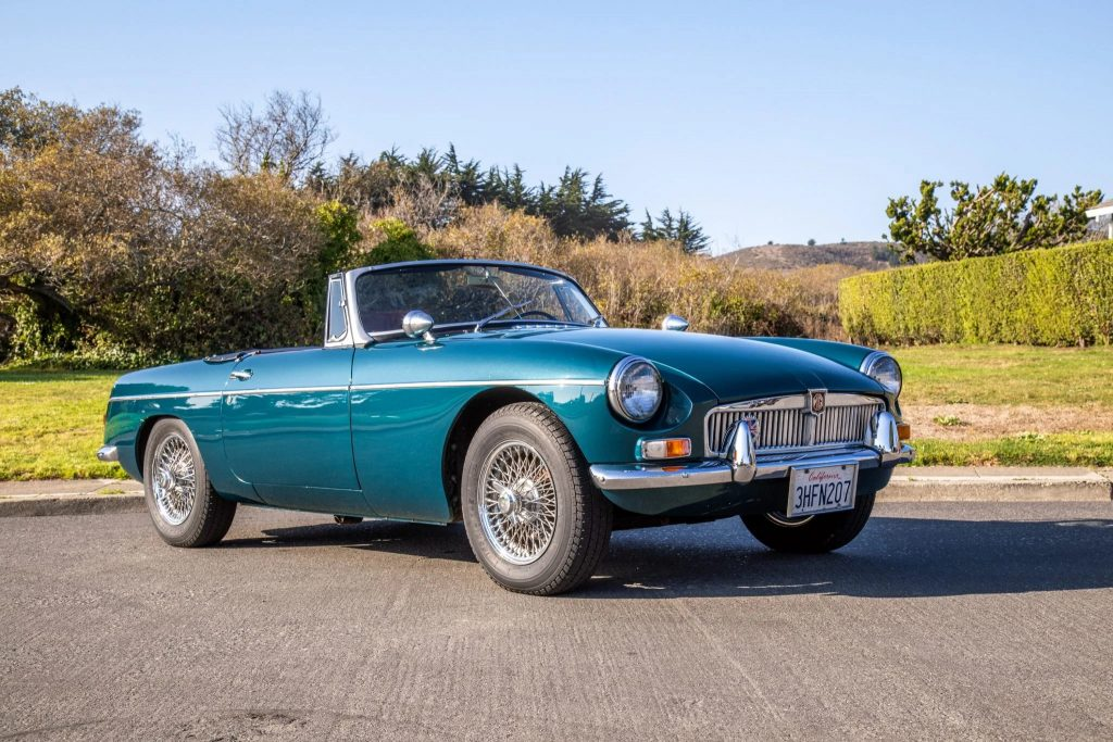 A turquoise 1965 MG MGB