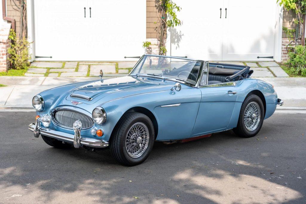 A light-blue 1967 Austin-Healey 3000 Mk3 BJ8