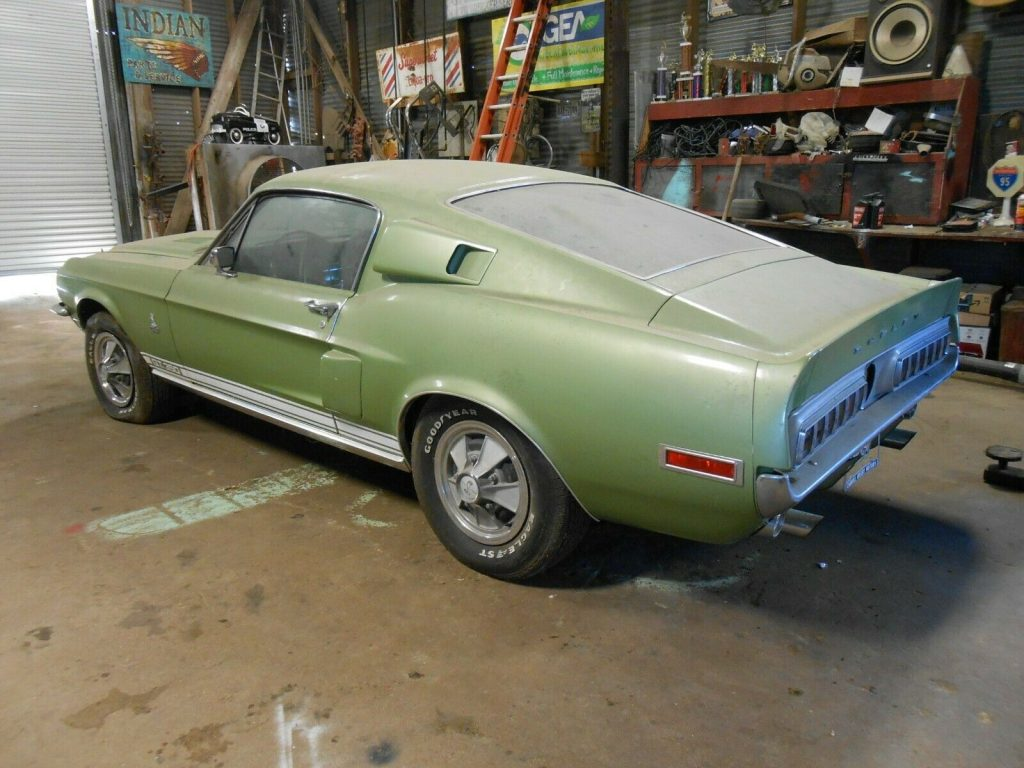 Rear quarter view of a lime green 1968 Shelby GT350