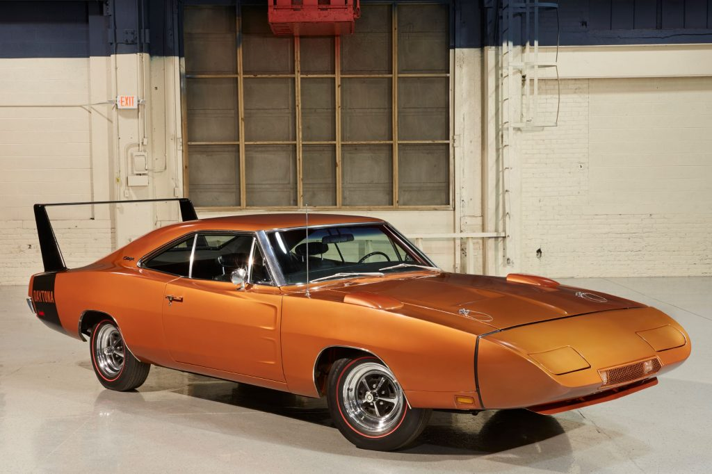 A bronze 1969 Dodge Charger Daytona
