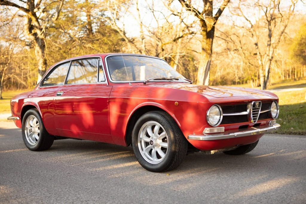 A red 1971 Alfa Romeo GT 1300 Junior