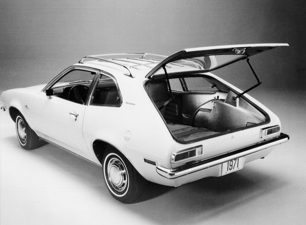 The hatchback door of a Ford Pinto Runabout stands open for a publicity photo shortly before the car's introduction as Ford's new subcompact car at the 1971 Chicago Auto Show. Detroit, Michigan.