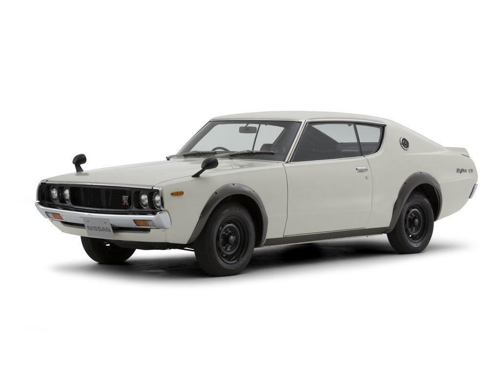 A white 1973 'Kenmeri' KPGC110 Nissan Skyline GT-R