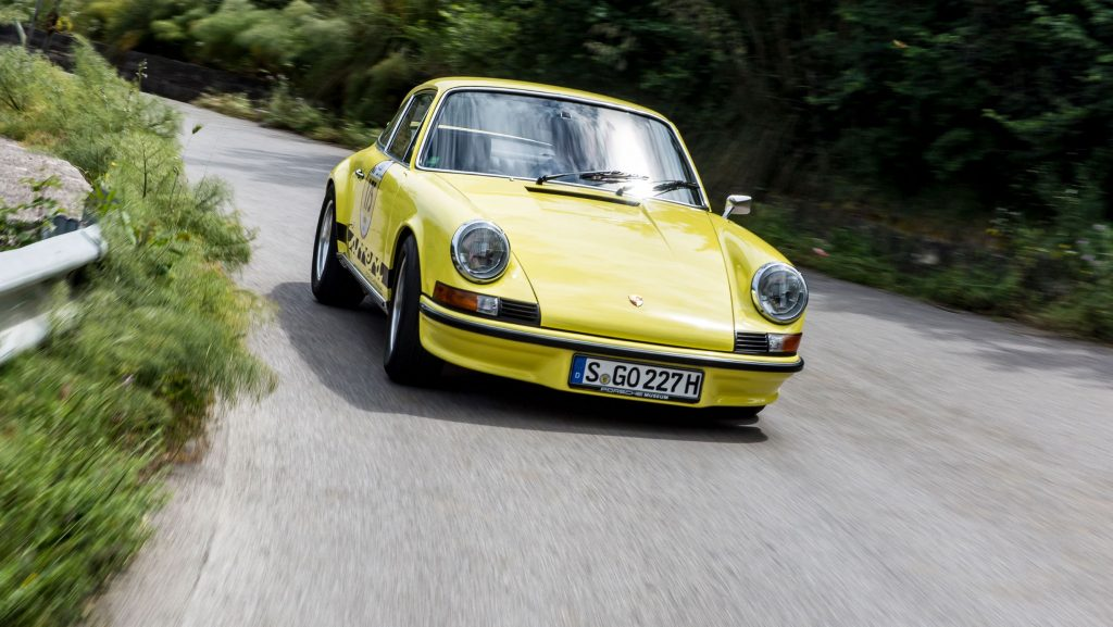 A yellow 1973 Porsche 911 Carrera 2.7 RS