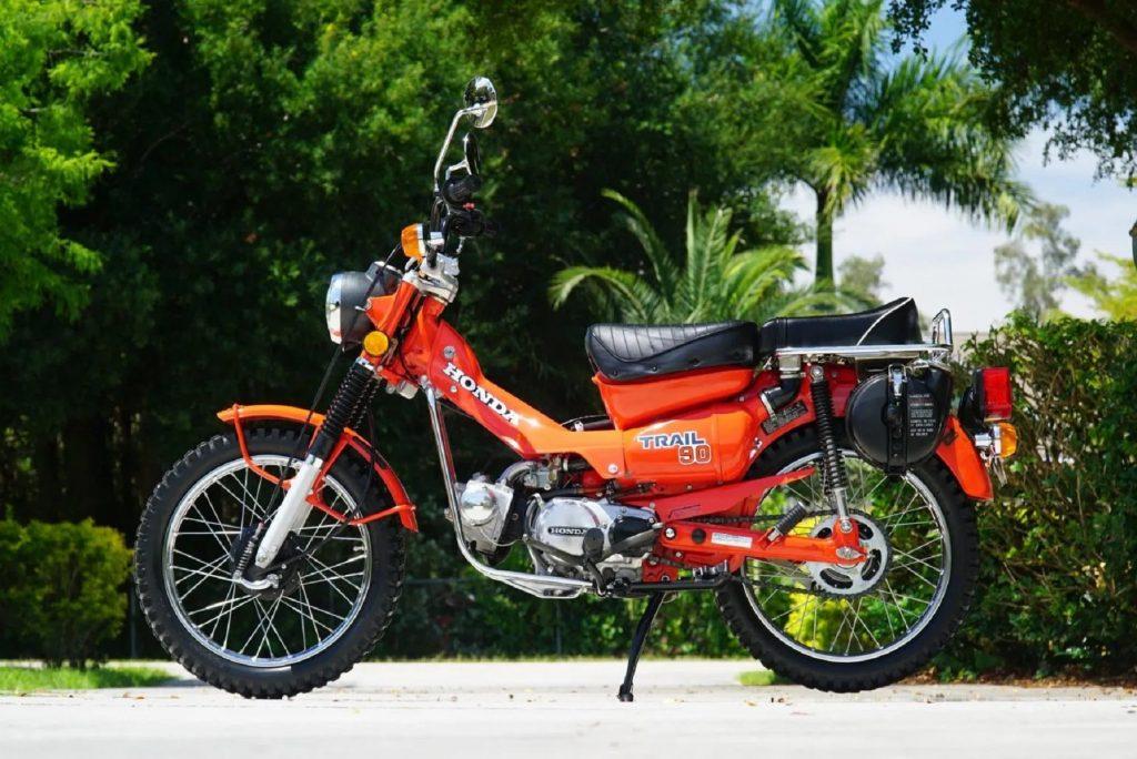 An orange 1979 Honda CT90 Trail 90