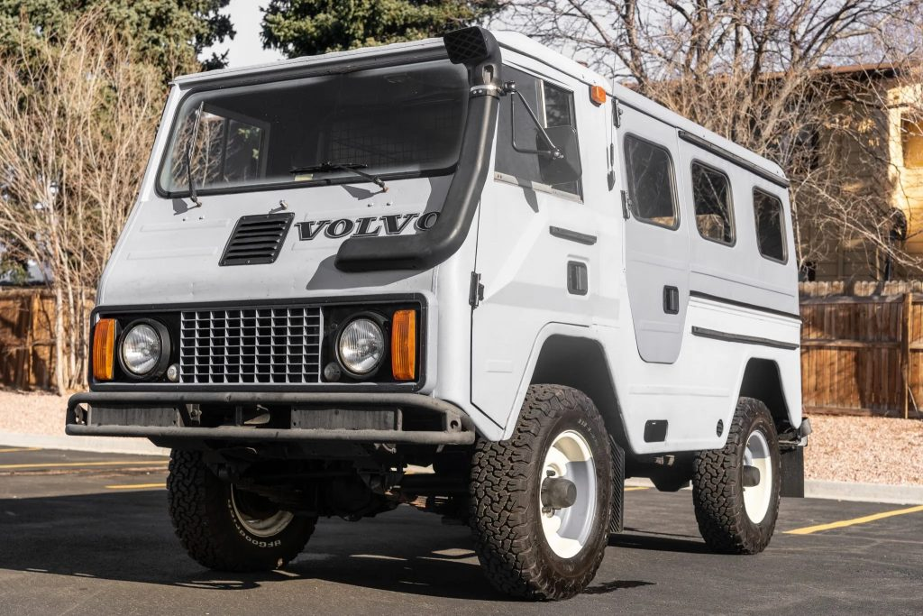 A modified gray 1979 Volvo C202 Laplander