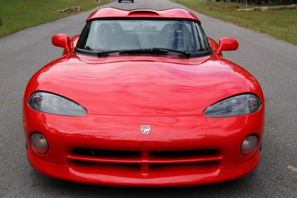 The front view of a red 1994 Dodge Viper RT/10 with a hardtop