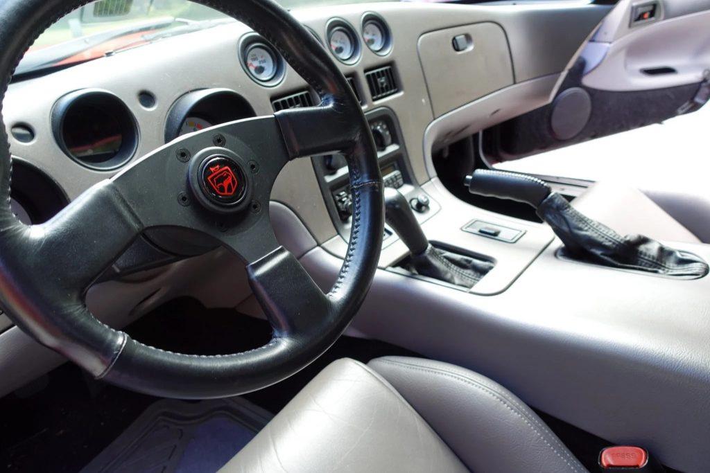The 1994 Dodge Viper RT/10's gray interior