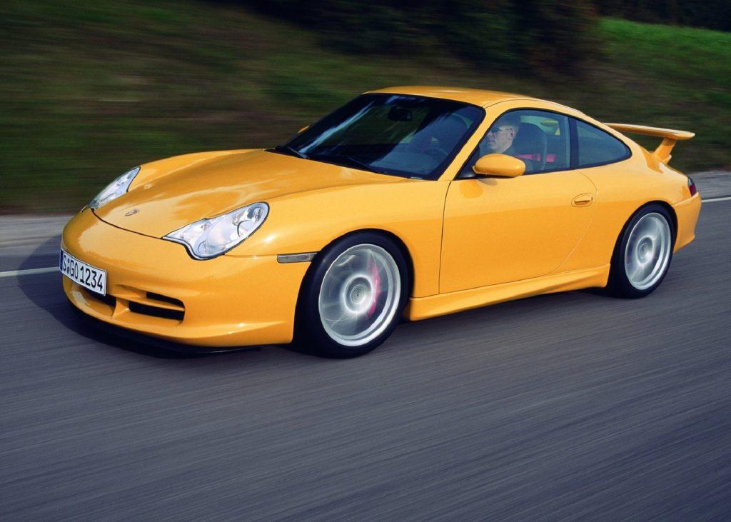 A yellow 996 2004 Porsche 911 GT3