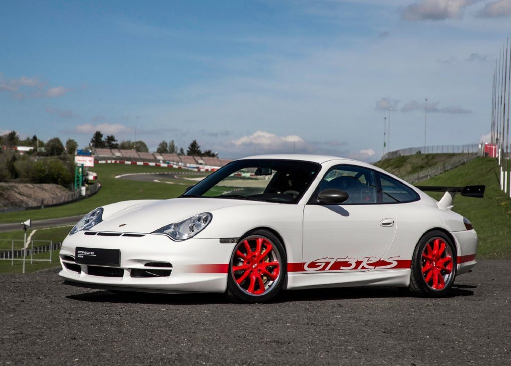 A white-and-red 2004 Porsche 911 GT3 RS