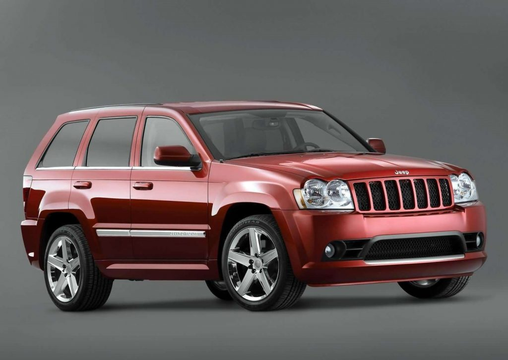A red 2006 Jeep Grand Cherokee SRT8.