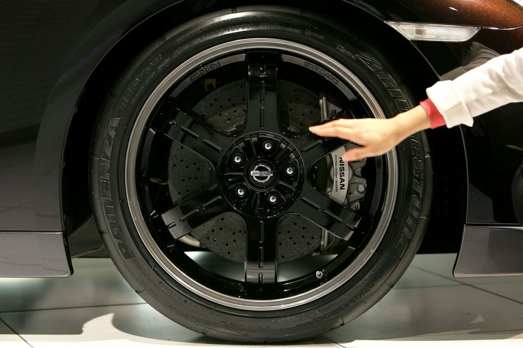 A closeup of the 2009 Nissan GT-R's carbon-ceramic brakes