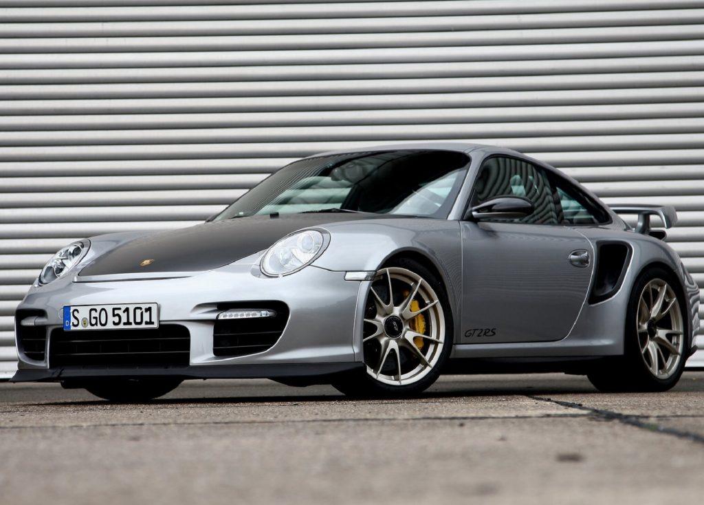 A gray-silver 2011 Porsche 911 GT2 RS