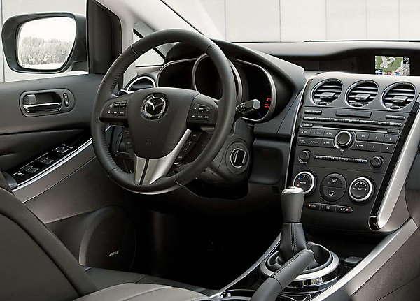 Cockpit area of the 2012 Mazda CX-7.
