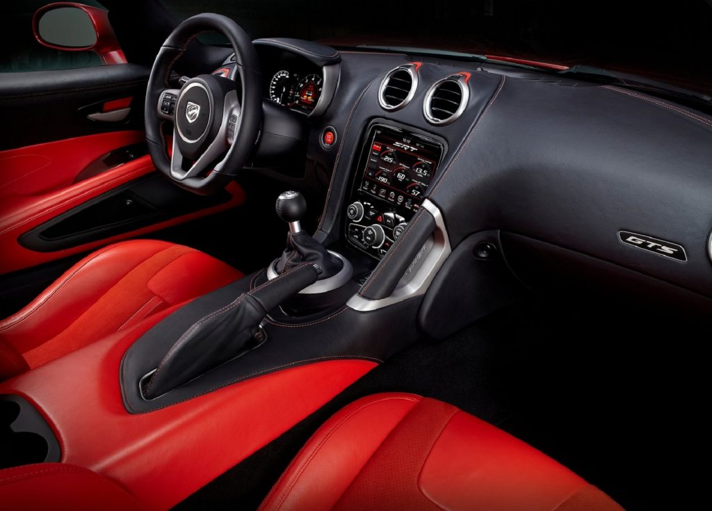 The 2013 SRT Viper GTS's red-leather front seats and black dashboard