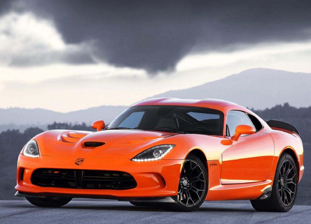 An orange 2014 SRT Viper TA on a racetrack