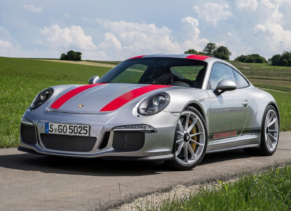 A silver-and-red 2016 Porsche 911 R