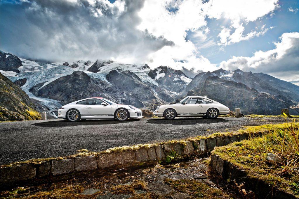 A white 2016 Porsche 911 R with a white 1967 Porsche 911 R