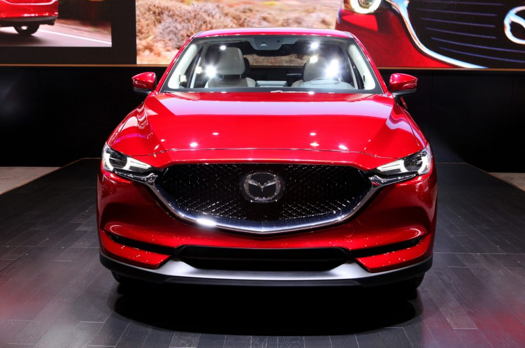 A 2017 Mazda CX-5 on display at an auto show