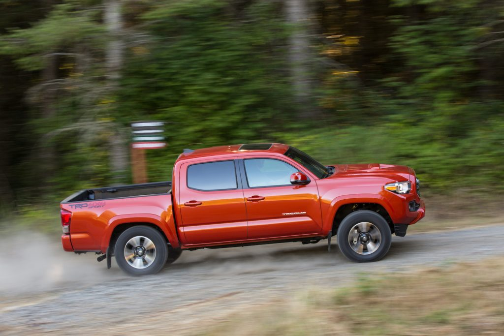 2017 Toyota Tacoma being driven up a gravel hill