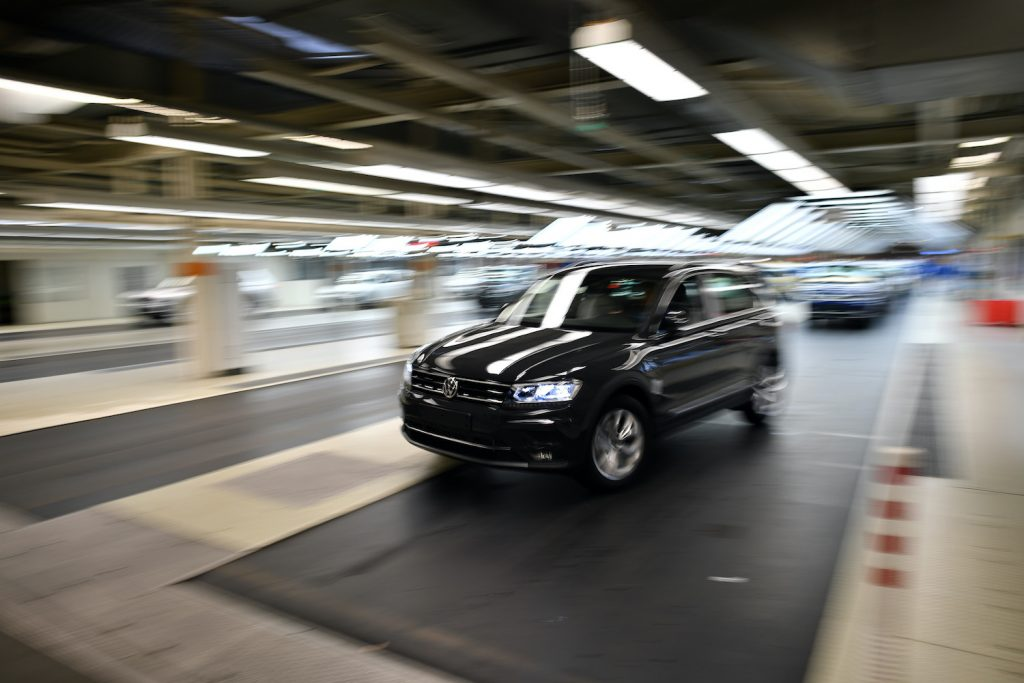 2018 Volkswagen Tiguan driving off the assembly line