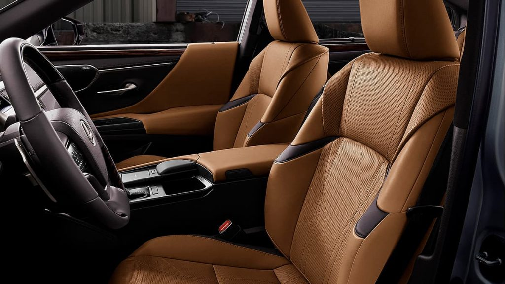 A 2019 Lexus ES 350 interior with brown leather.
