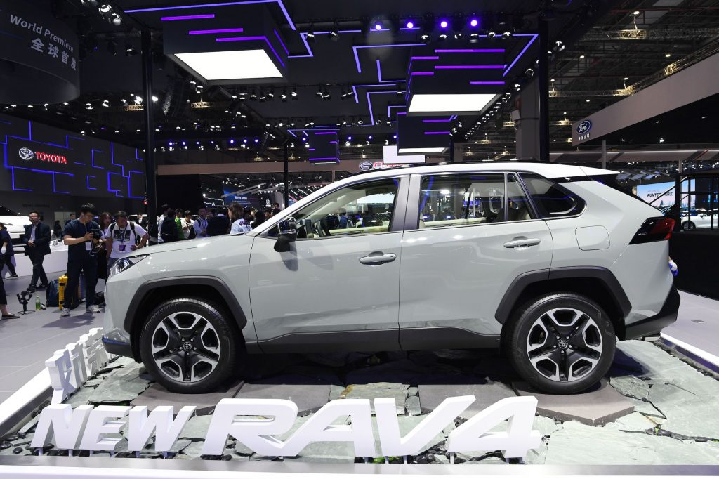 A Toyota Rav4 is displayed on the opening day of the Shanghai Auto Show in Shanghai