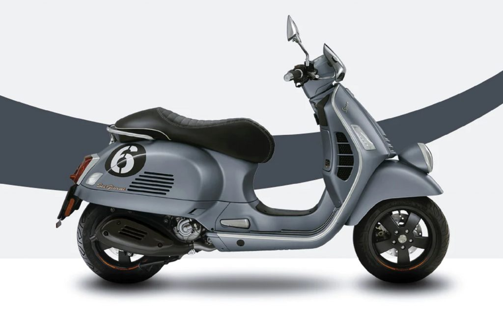The side view of a gray 2019 Vespa Sei Giorni 300